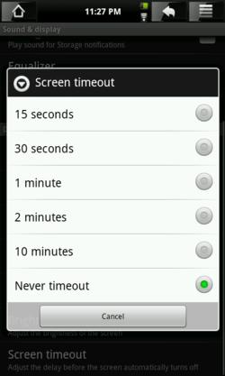 Screen timeout