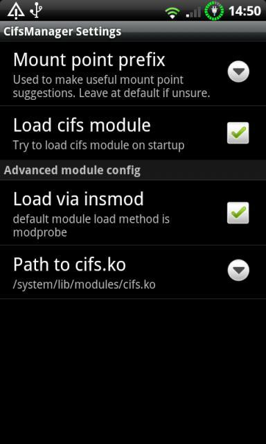 cifsmanager settings