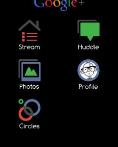 Google Plus invertovana crna aplikacija