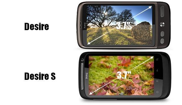 desire s vs desire ekrani