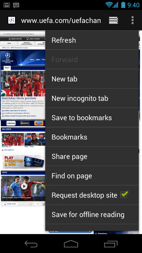 Android ICS browser