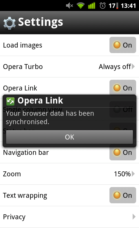 Opera Link Synced