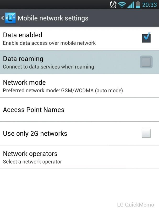 Android Data Roaming