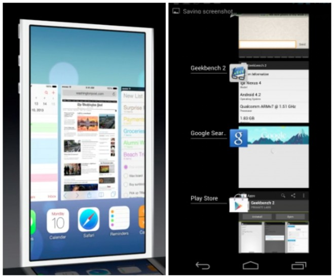 Multitasking iOS 7 vs Android 4.2