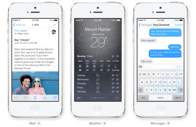Mail Weather Messages iOS 7