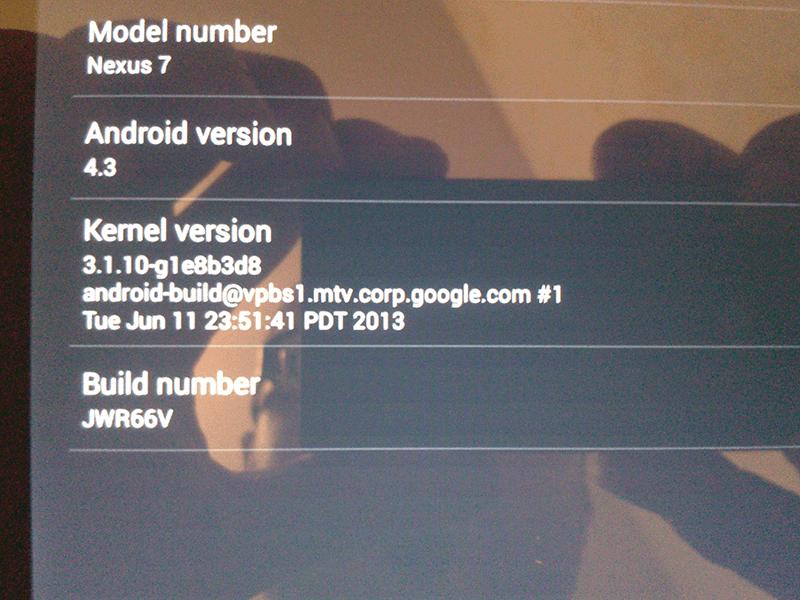 nexus 7 update 4.3