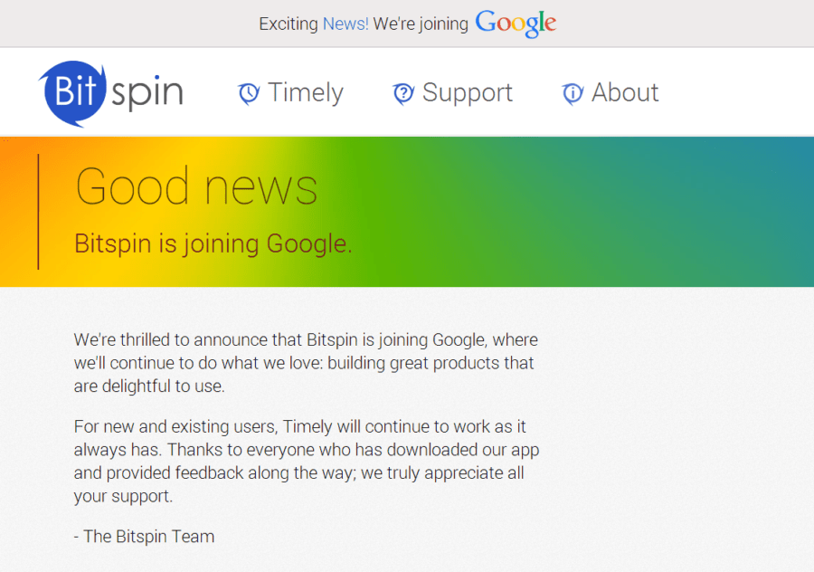 bitspin timely android apps join google