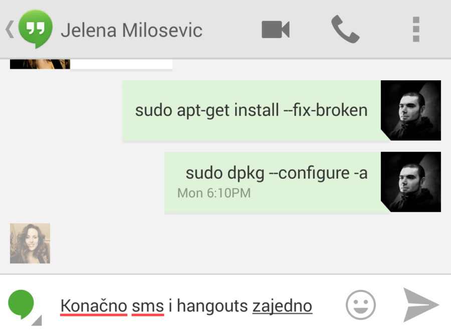 Hangouts Chat i SMS