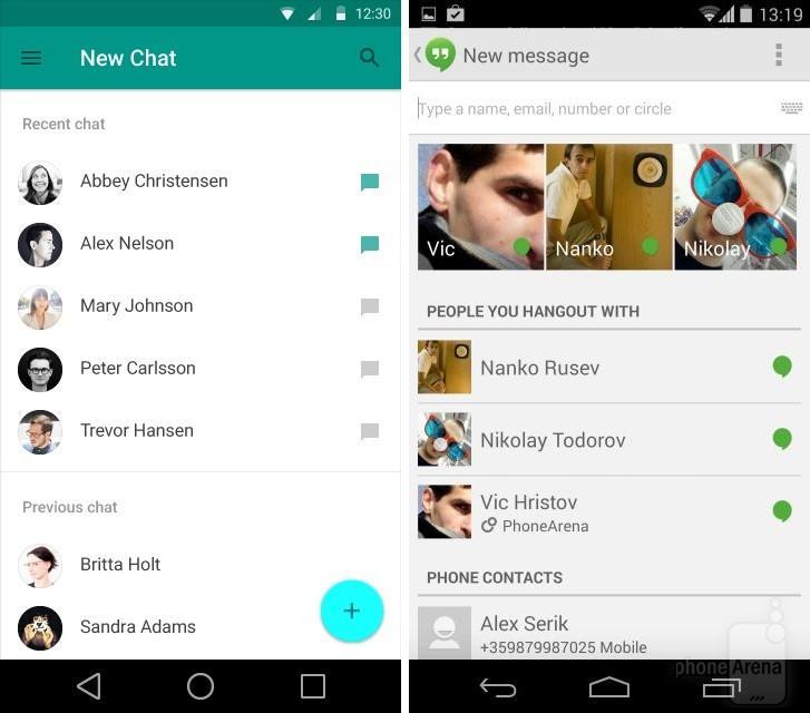 Google Hangouts novi chat