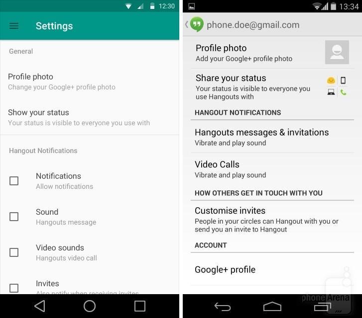 Google Hangouts settings