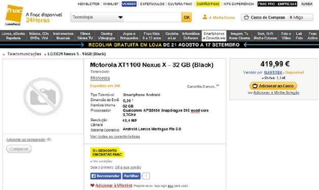 Motorola XT1100 Nexus X Leak