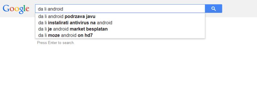 Da li Android Google pretraga