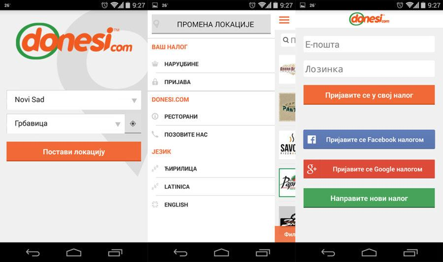 Donesi.com app logovanje