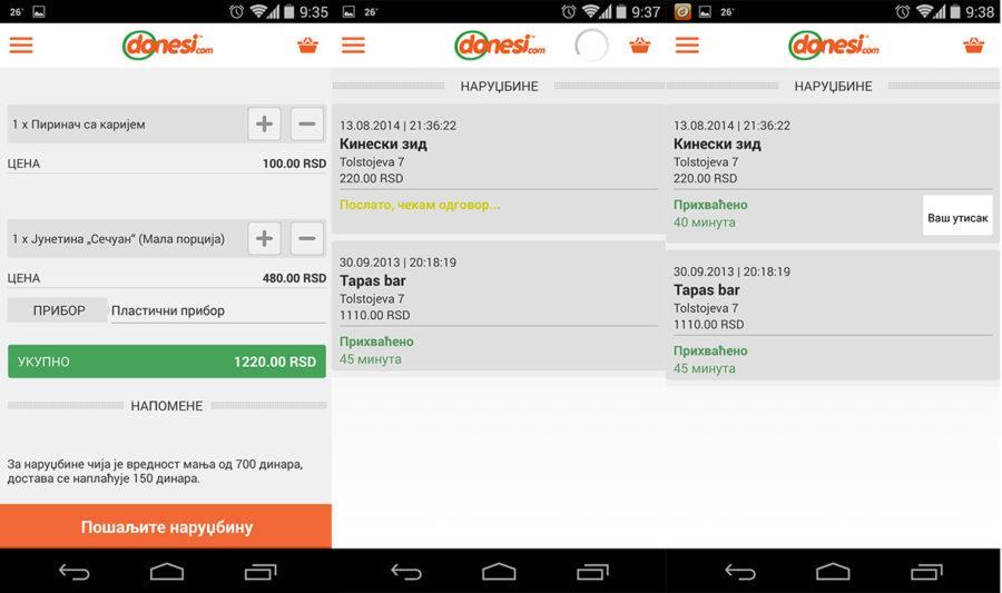 Donesi.com app dodavanje u korpu