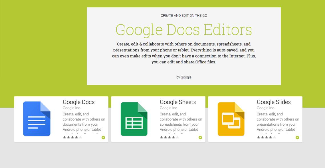 google ažurirao docs sheets i slides aplikacije za